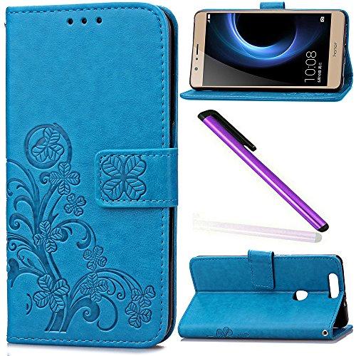Huawei Honor V8 Case Cover EMAXELER Stylish Wallet Colour Kickstand Flip Case Credit Cards Slot Cash Pockets Embossing PU Leather Flip Wallet Case For Huawei Honor V8 Clover Blue
