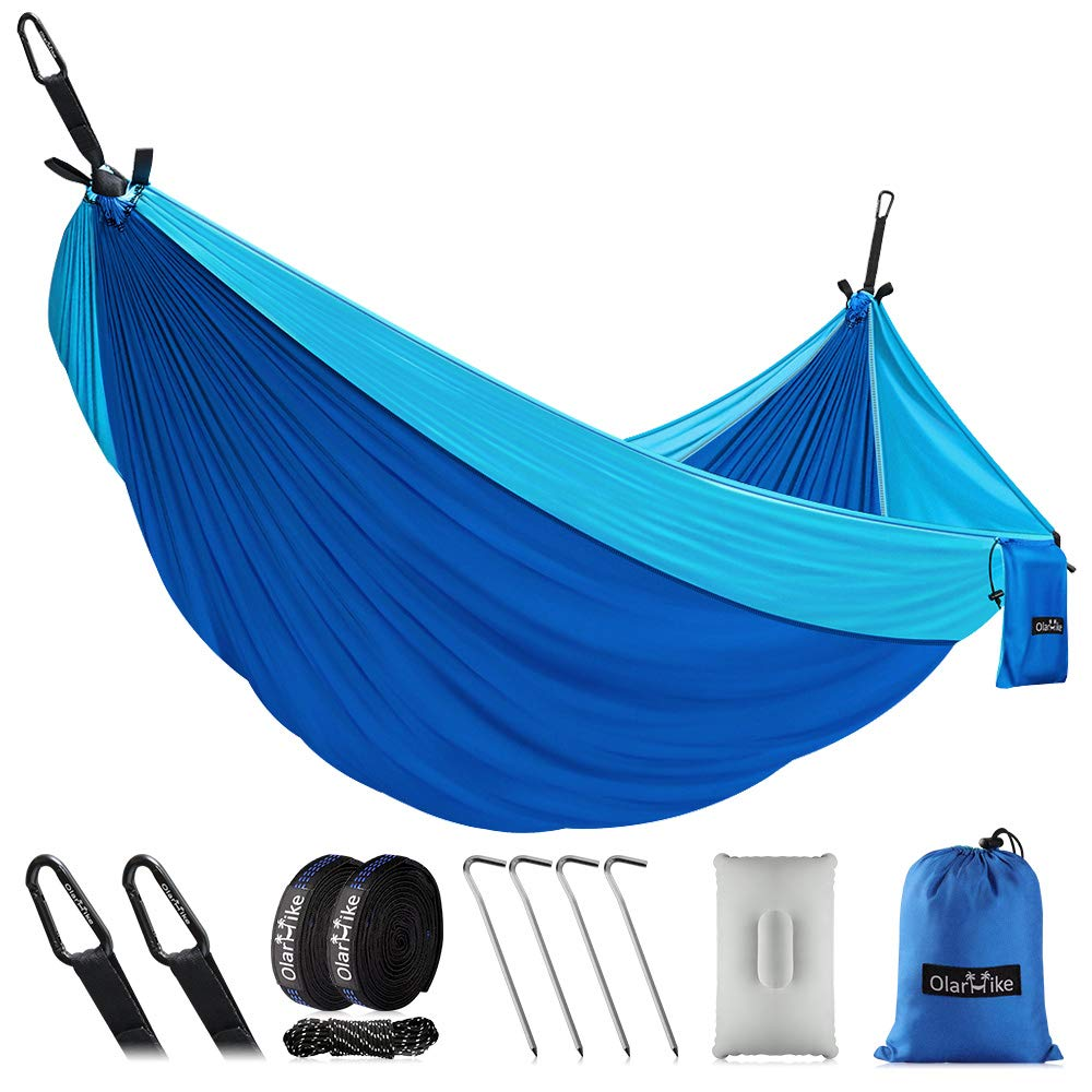 OlarHike Double Camping Hammock, Lightweight Portable Nylon 2 Person Hammocks with Tree Straps, 500lbs Capacity Hammock for Outdoor Indoor Backpacking Travel Beach Garden Yard by OlarHike