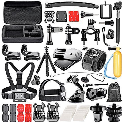 Neewer 53-In-1 Sport Accessory Kit for GoPro Hero4 Session Hero1 2 3 3+ 4 SJ4000 5000 6000 7000 Xiaomi Yi Sony Olympus Action Cam iPhone 6s Plus 6s 6Plus 6 5 5s 5c 4s 4 Samsung S5 S6 S6