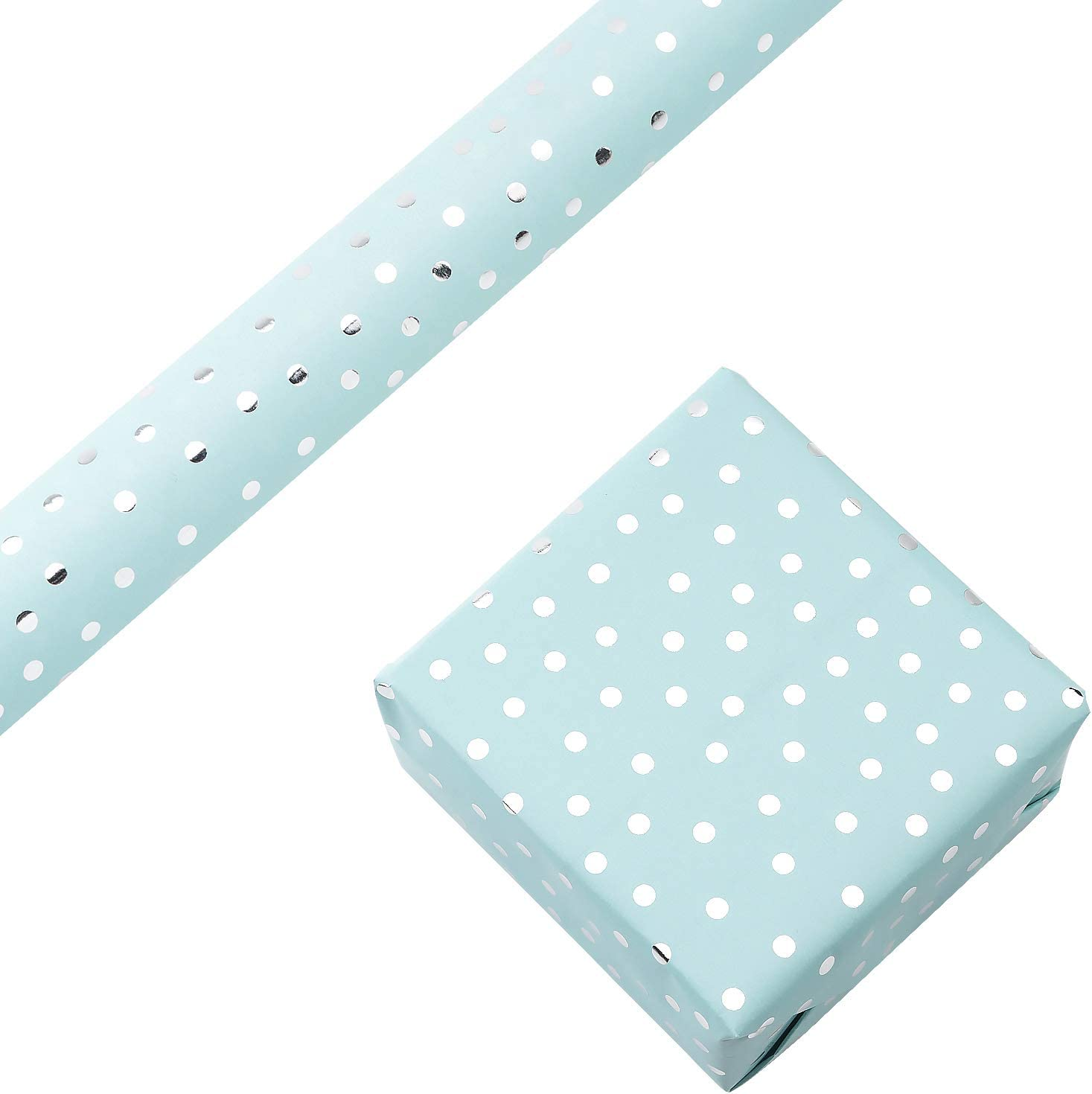 RUSPEPA Gift Wrapping Paper Roll-Silver Foil Small Irregular Dots Baby Blue Background Design for Wedding, Birthday, Baby-shower, Congrats, and Holiday Gifts - 30 Inch X 16 Feet