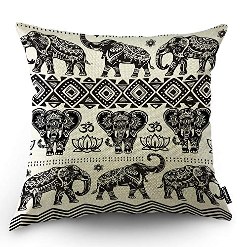 Moslion Elephant Decorative Pillow Case Sketch African Animal Aztec Ethnic Boho Elephants Lotus Flower Throw Pillow Cover Square Accent Cotton Linen Home 18x18 Inch
