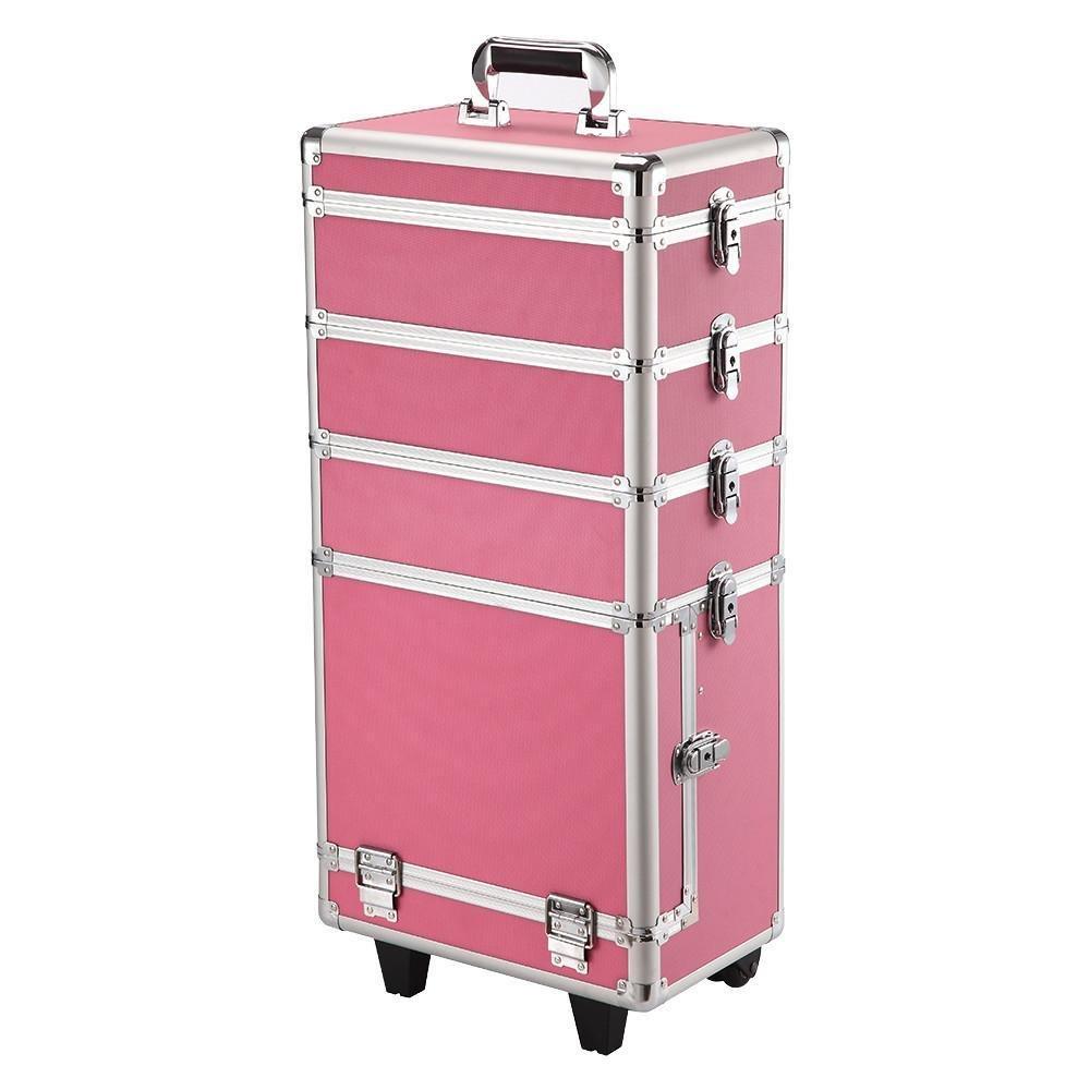 Popamazing 4 in 1 Large Aluminium Beauty Trolley Vanity Case Make up Cosmetic Box Bag Hairdressing Nail Art Salon (Pink)