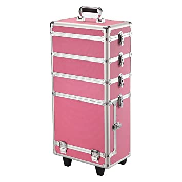 Amazon.com: Yaheetech Professional Rolling Makeup Artist Case Makeup Trolley Travel Cosmetic Case Beauty Case Trolley Brand New Pink: Beauty