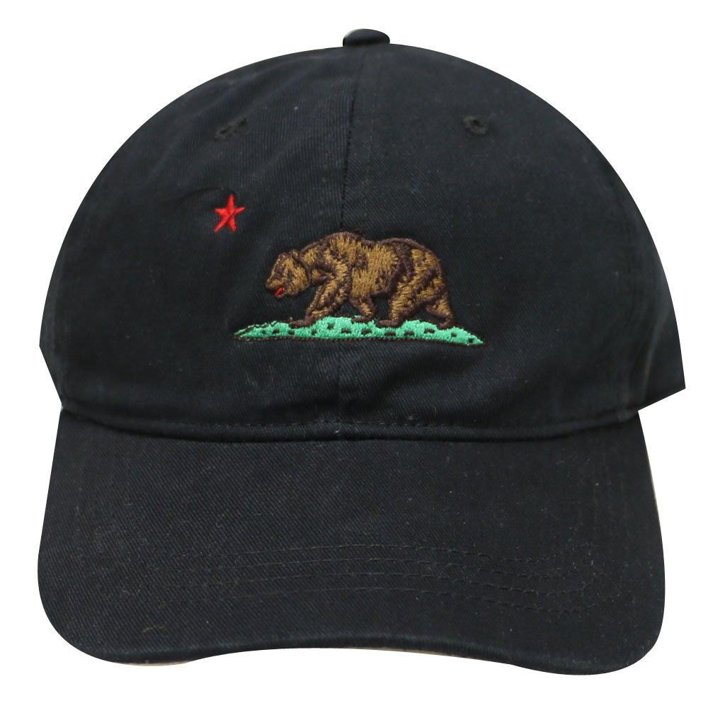6f7c90d9cb2 Amazon.com  City Hunter C104 California Republic Bear Cotton Baseball Cap  15 Colors (Black)  Clothing