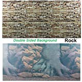 Double Sided Aquarium Rock Reptile Houses Background Backdrop Fish tank Poster (80x182cm /31.5x 71.65inch)