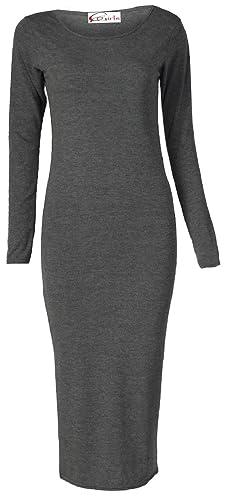 Crazy Girls Women's Long Sleeve Scoop Neck Midi Dress