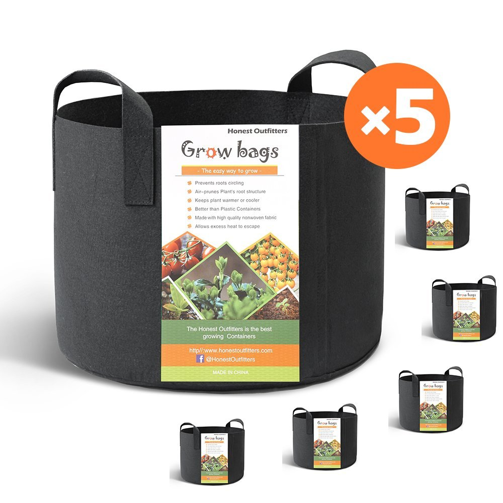 HONEST OUTFITTERS 5-Pack 10 Gallon smart Grow Bags for Potato/Plant Container/Aeration Fabric Pots With Handles (Black) by HONEST OUTFITTERS