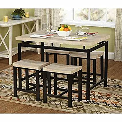 Amazon Com Simple Living Delano Two Tone 5 Piece Wood Dining Set