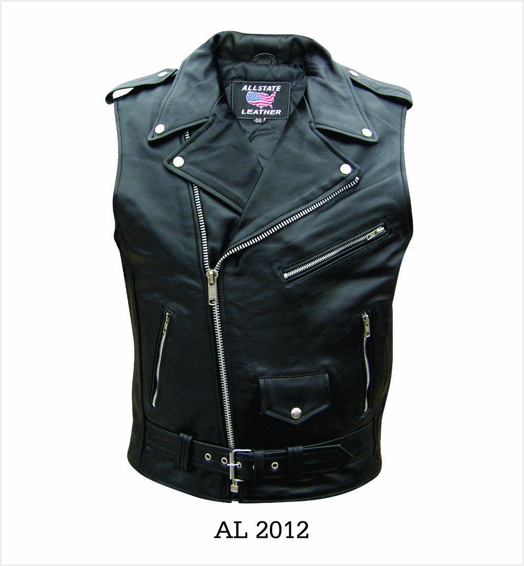 Men's AL2012 Basic Sleeveless Motorcycle Jacket 44 Black