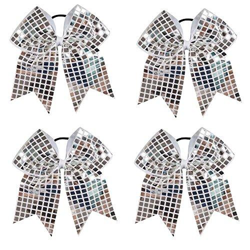 CN 4pcs Jumbo Sequin Cheer Bows Cheerleading Sparkly Girls Hair Bow