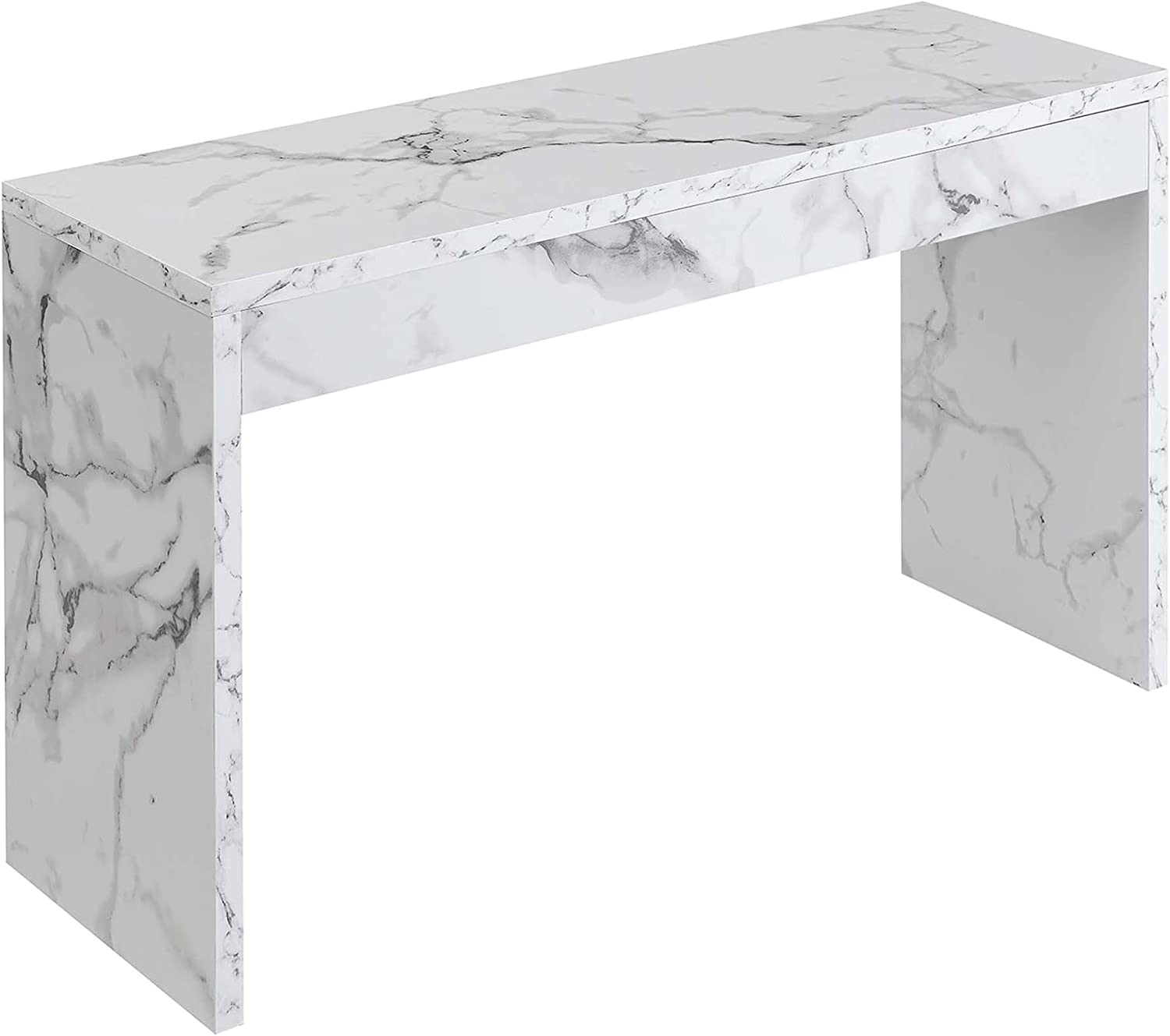 Convenience Concepts Northfield Hall Console Table, White Faux Marble