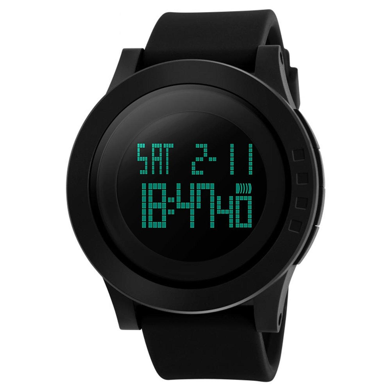 Reloj digital para hombres - reloj deportivo vazeedo con luz de fondo de la pantalla de fecha y banda de silicona ajustable, resistente al agua y a los arañazos, alarma y modo de tiempo dual
