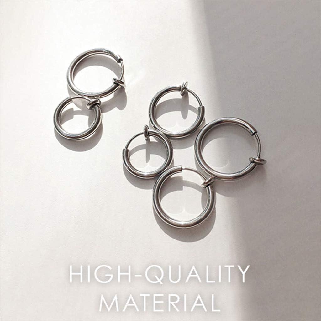 Silver, S 2 Pcs Fake Stud Earrings Clip On Piercing Body Nose Lip Rings Hoop Earrings Hypoallergenic Body Jewelry for Women Men Girls