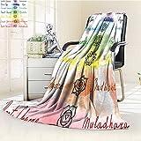 AmaPark Digital Printing Blanket Brushstroke Inspired Lotus Pose Spots in the Body Faith and Harmony Summer Quilt Comforter