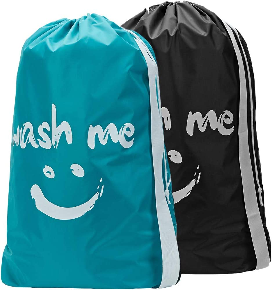 HOMEST 2 Pack XL Wash Me Travel Laundry Bag, Machine Washable Dirty Clothes Organizer, Large Enough to Hold 4 Loads of Laundry, Easy Fit a Laundry Hamper or Basket, Sky Blue & Black