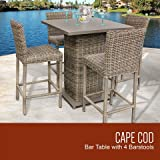 TKC Cape Cod Pub Table Set with Barstools 5 Piece Outdoor Wicker Patio Furniture, Vintage Stone