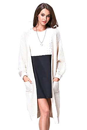 dda38a4a2e452 Shmily Girl Womens Over-Sized Pocket Knit Long Cardigan Open Front ...