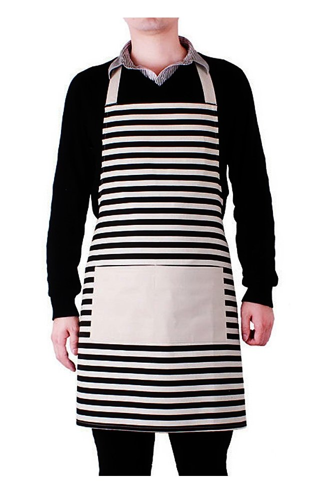 Elisona®Unisex Couple Kitchen Cooking Canvas Cross Stripe Pattern Waterproof Apron with Pocket Black