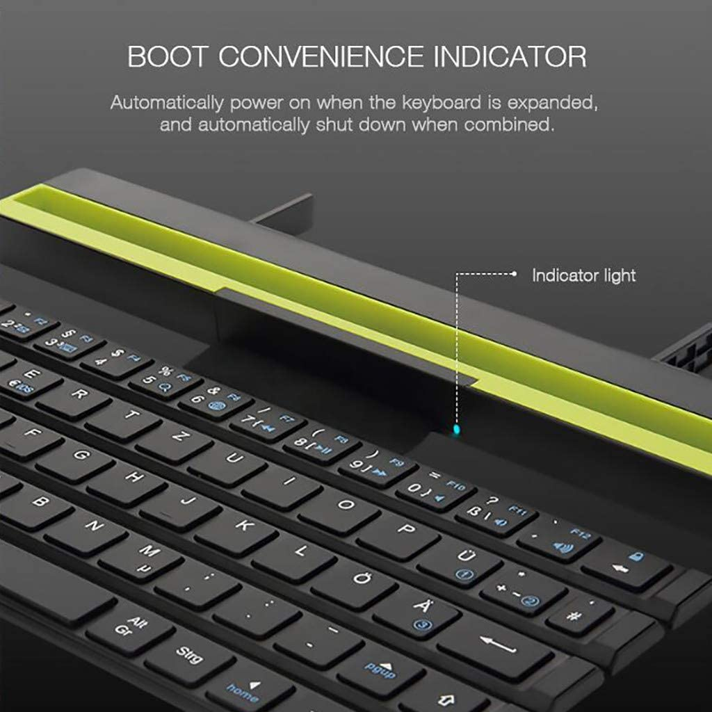 RONSHIN Wireless Keyboard Foldable Bluetooth Connection Support for Mobile Phones Windows Mac Laptop Tablet red