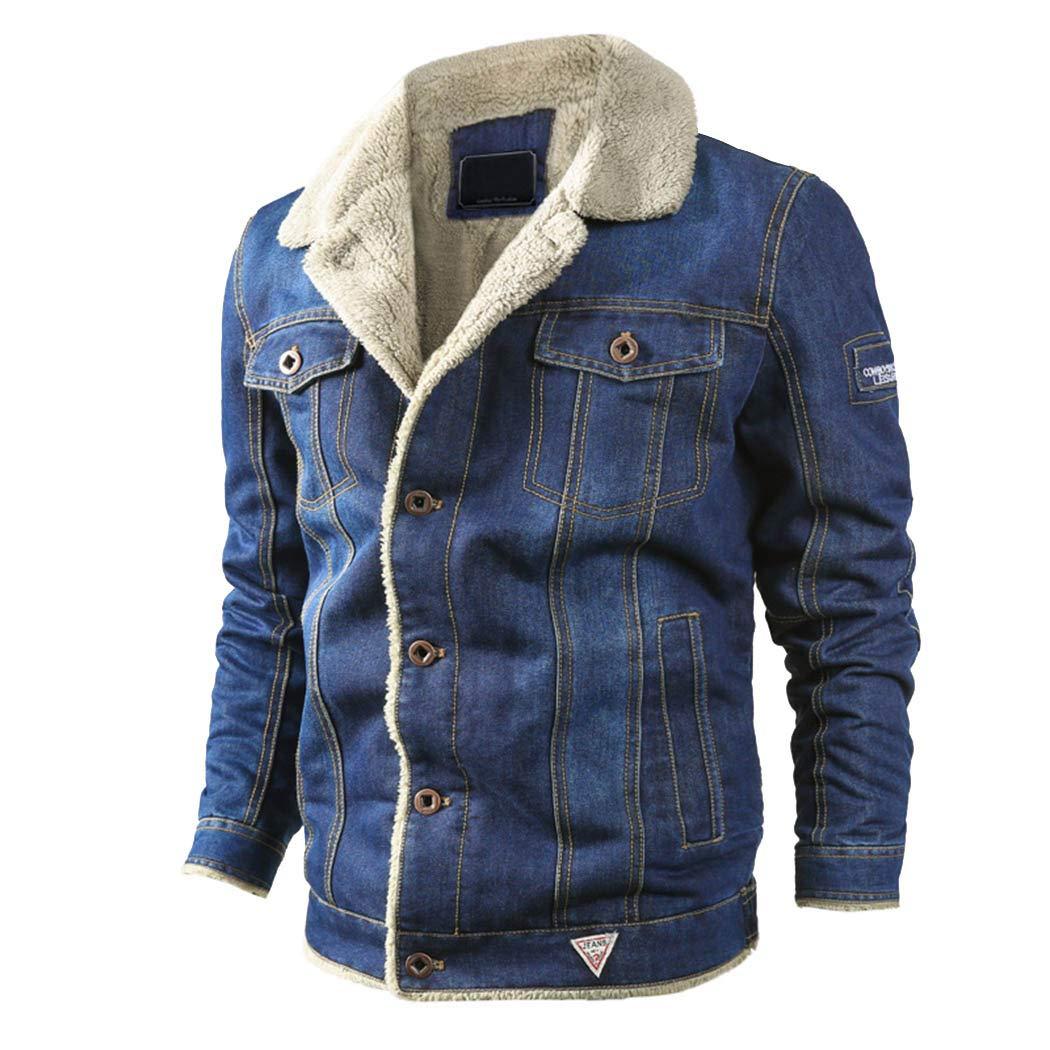 Goorape Mens Retro Denim 2 Buttons Trucker Jacket Blazer Jeans Casual Suit