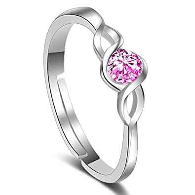 93e9d001e Om Jewells Rhodium Plated Adjustable Curvy CZ Solitaire Finger Rings  Crafted for Girls and Women FR1000914: Amazon.in: Jewellery