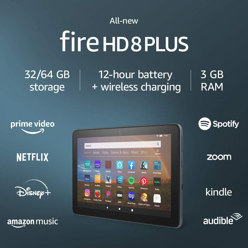"""All-new Fire HD 8 Plus tablet, HD display, 32 GB, our best 8"""" tablet for portable entertainment, Slate, without ads"""