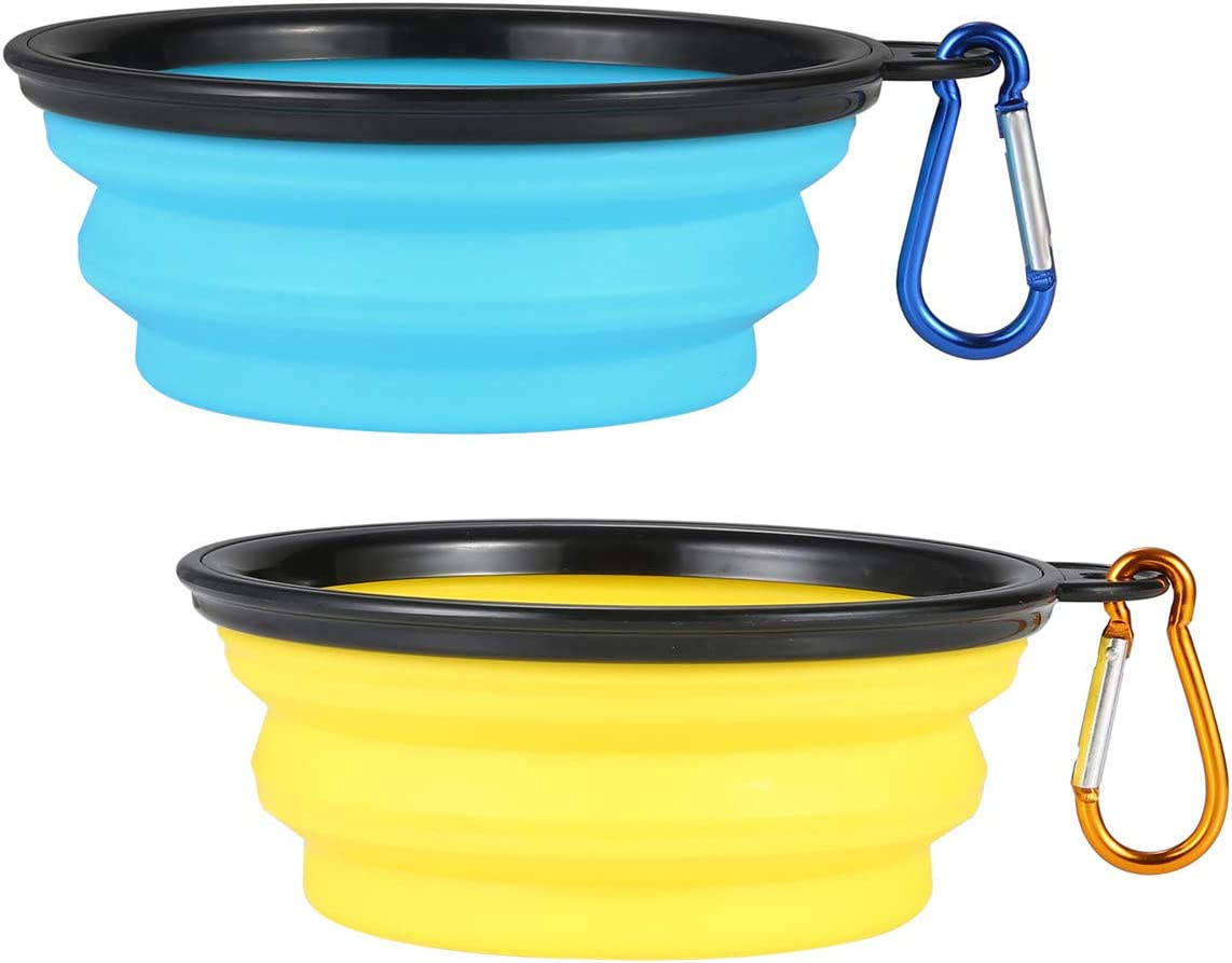 SLSON Collapsible Dog Bowl 2 Pack, Portable Silicone Pet Feeder, Foldable Expandable for Dog/Cat Food Water Feeding, Travel Bowl for Camping