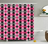 Pink and Grey Shower Curtain Ambesonne Abstract Shower Curtain, Argyle Motif with Diamonds and Lozenges Infinite Symmetric Stripes Image, Fabric Bathroom Decor Set with Hooks, 70 Inches, Baby Pink Black Grey