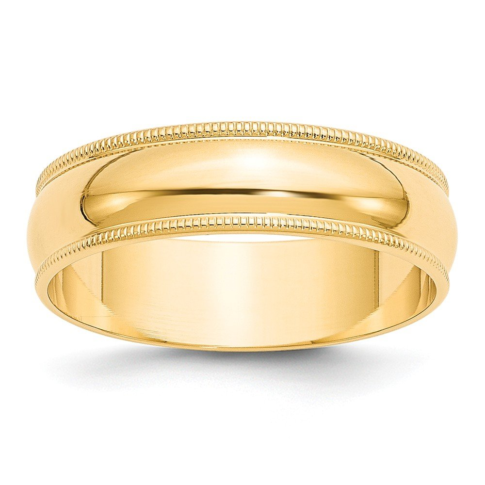 14K Yellow Gold 6mm Lightweight Milgrain Half Round Band Ring