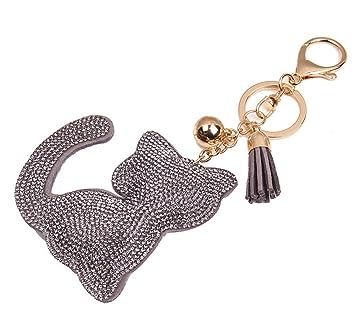 Kanggest 1 Piezas Llaveros de Coche Gato de Cristal Forma Pequeños Cadena de Clave Key Holder Para Decoración del Coche/Puerta/Teléfono/accesorio de ...
