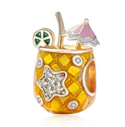 05fd00af3 MEETCCY Fits Original Pandora Charm Bracelet 925 Sterling Silver Enamel  Pineapple Cup Cake Charm Happy Birthday