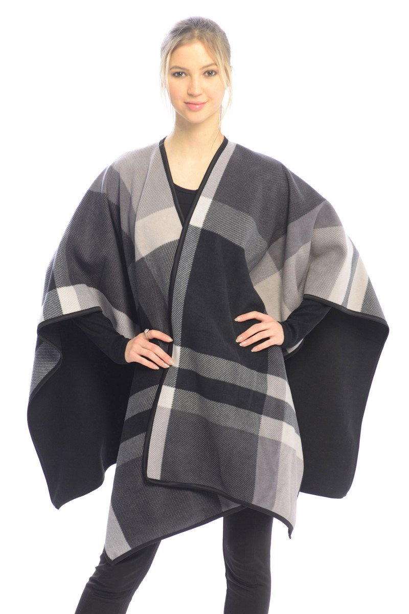 BYOS Women Winter Reversible Plaid Checked Houndstooth to Black Warm Fleece Open Front Poncho Ruana Wrap Cape (Gray Check)