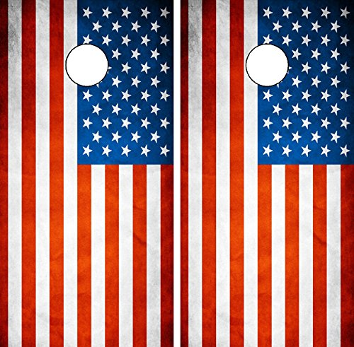 C191 American Flag CORNHOLE WRAP WRAPS LAMINATED Board Boards Decal Set Decals Vinyl Sticker Stickers Bean Bag Game Vinyl Graphic Tint Image