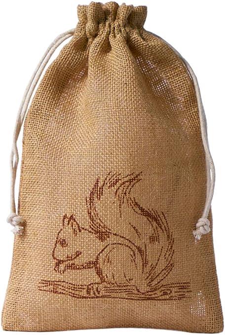 5 bolsas de yute con estampado de ardilla color marrón y cuerda de algodón, bolsa de yute, bolsa de regalo, decoración de otoño (tamaño 40x29 cm): Amazon.es: Juguetes y juegos