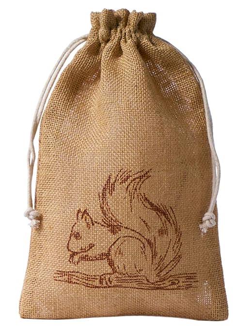 5 bolsas de yute con estampado de ardilla color marrón y ...