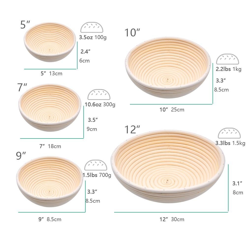 GoGoBake 11'' Couronne Bread Proofing Basket, Banneton Brotform Bread Dough Proofing Rising Rattan Basket Round Proofing Bowl with Liner for Professional Home Bakers G11 by GoGoBake (Image #2)