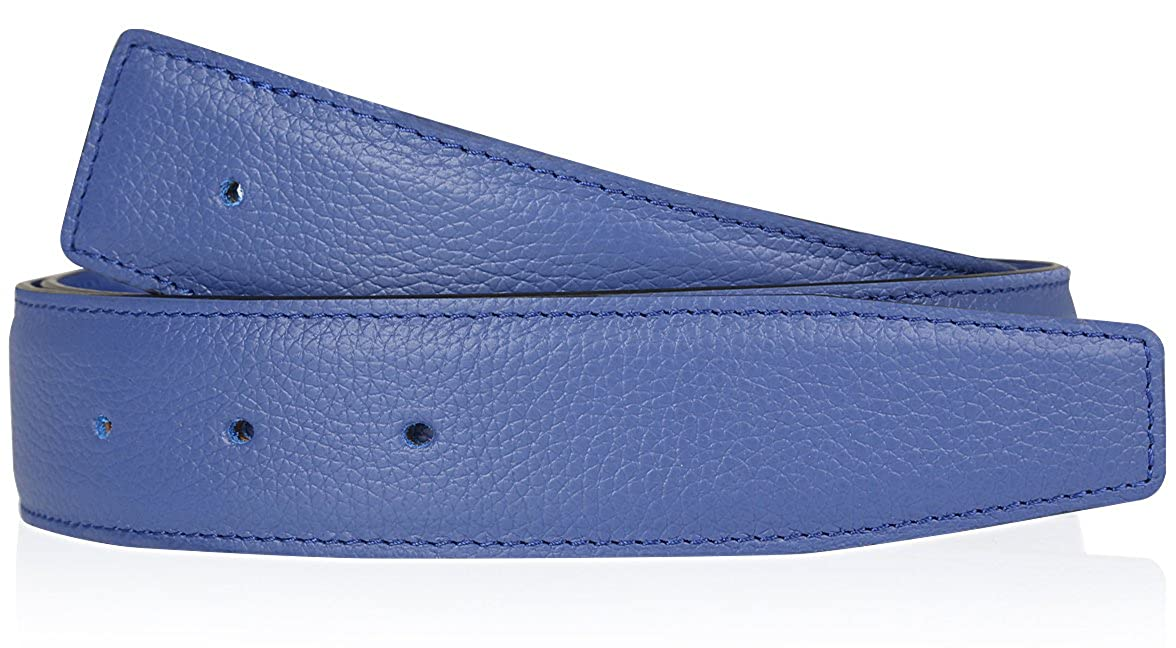 Erdi /Ünver Cintura double face azzurra in vera pelle per uomo e donna cintura blu 31mm di spessore