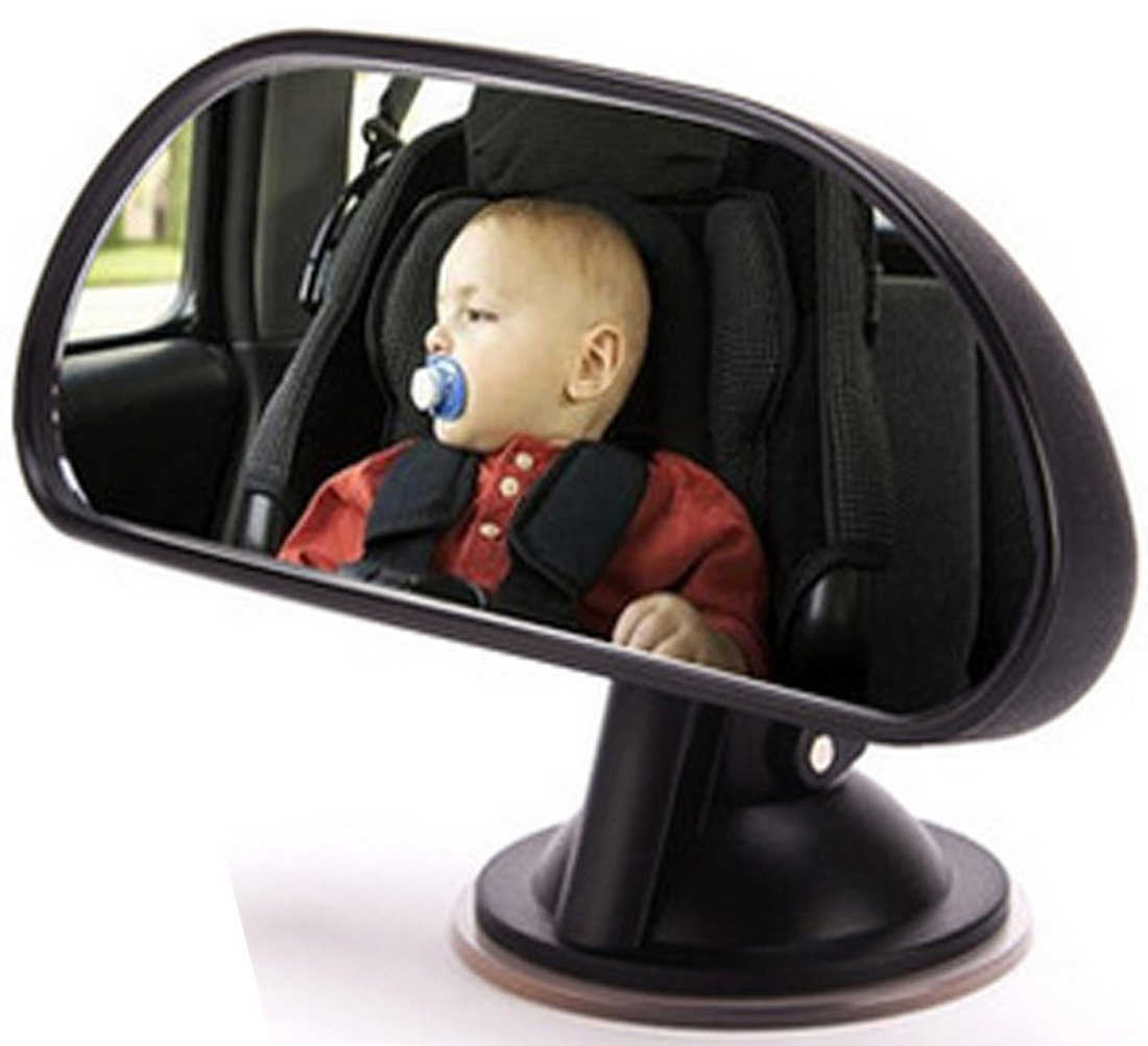 Deezio Baby Car Mirror Suction Cup - Baby Backseat Mirror for Car - Universal Rear View Baby Mirror for Car with Wide Angle 360 Degree Rotatable by Deezio