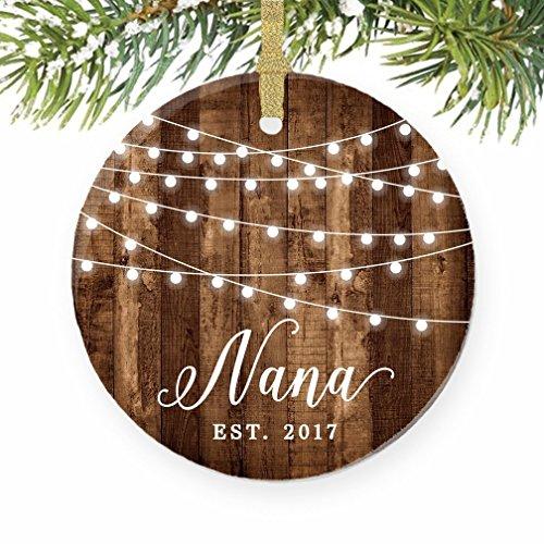Nana Ornament 2017, New Grandmother Ornament, New Nana Gift Est. 2017 Rustic Porcelain Ornament, 3
