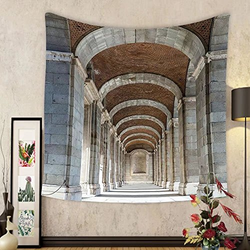 Gzhihine Custom tapestry Ambesonne Apartment Decor Collection Royal Palace Corridor Madrid Spain Historic Famous European Landmark Facade Picture Print Bedroom Living Room Dorm Tapestry Grey by Gzhihine
