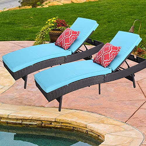 Do4U Outdoor Pool Garden Patio Chaise Lounge Recliner Bed, Easy to Assemble, Exp Rattan with Turquoise Cushion -2 Pc Chaise Lounge Chair