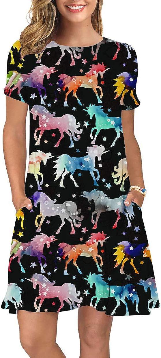 ALISISTER Women Summer Dress Short Sleeve Floral Tshirt Sundress Midi Round Neck