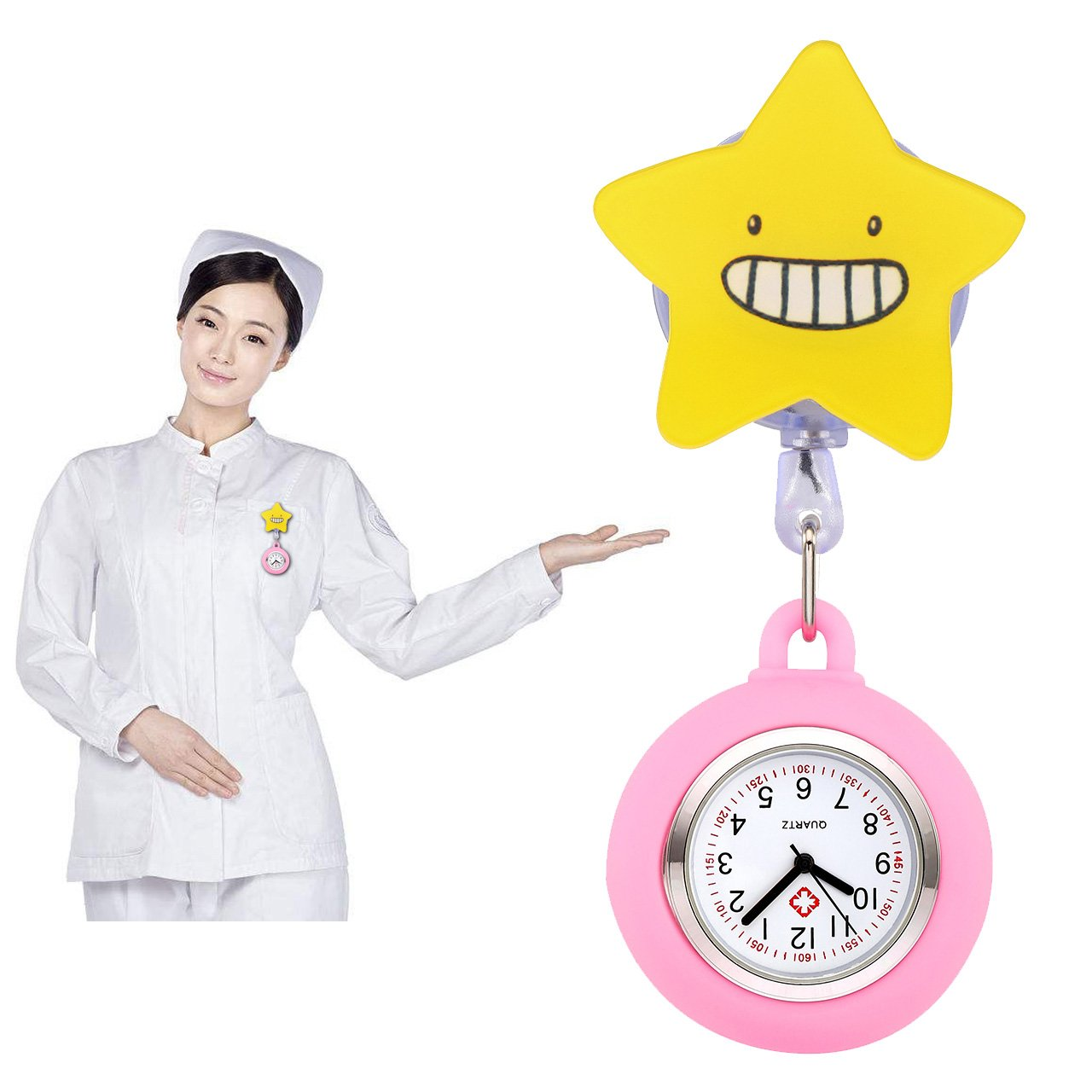 Top Plaza 3 Pcs Girls' Kid's Cute Lovely Cartoon Pattern Silicone Clip on Fob Brooch Hanging Easy Pull Clasp Stretch Analog Quartz Pocket Nurse Watches #2 by Top Plaza (Image #6)