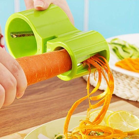 verde Sairis Tagliaverdure a doppia spirale di qualit/à superiore Zucchine Noodle Pasta Ribbon Spaghetti Affettatrice Utile attrezzo da cucina Economico alla moda