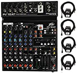 Package: Peavey PV 10AT PV10AT Mixer With 4 Mic In, Bluetooth, USB, Compressor/Effects + 2 Channel AutoTune + (4) Peavey PV 20' XLR Female to Male Low Z Mic Cables