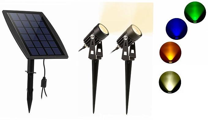 Lampada da giardino solare 2 proiettore spot 120lm interruttore
