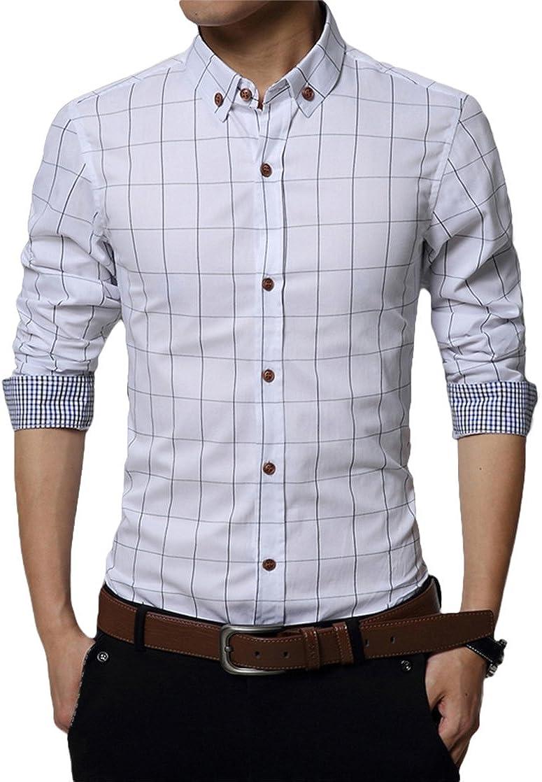 Kuson - Camisa de Manga Larga para Hombre, de algodón Fino, Estilo Casual Fino, Talla S-3XL Blanco XXL: Amazon.es: Ropa y accesorios