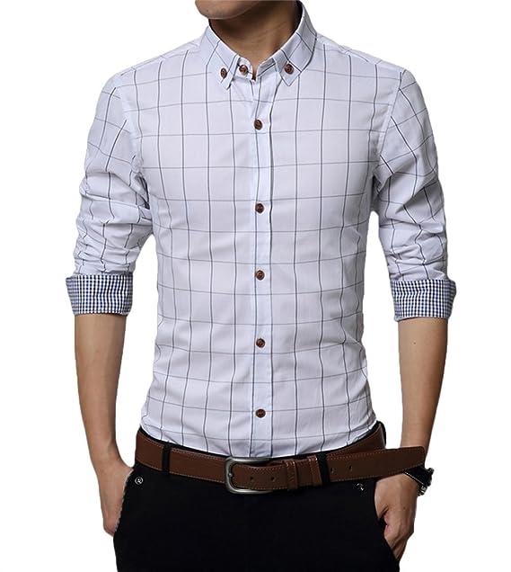 d2e1ee41d2a50 Kuson Camisa Hombre de Manga Larga Personalidad Slim Fit Casual  Amazon.es   Ropa y accesorios