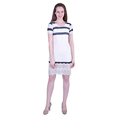 8cdb78bf88e MISTLETOE MIA Eliza Lace Dress White Blue: Amazon.in: Clothing ...