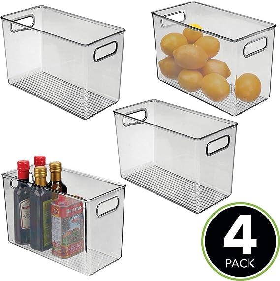 mDesign Juego de 4 fiambreras para el frigorífico – Cajas de ...